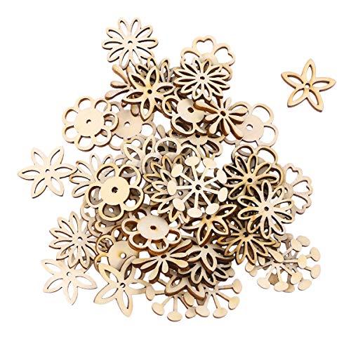 SUPVOX 50 Stücke Holzscheiben Blumen Scheiben Baumscheiben Naturholzscheiben für Weihnachtsbaum Anhänger Hochzeit Basteln DIY Baumschmuck Holz Streudeko Tischdeko Weihnachtsdeko (Mischmuster)