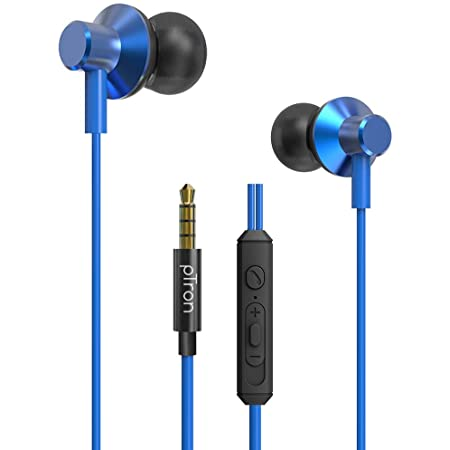 pTron Pride Lite HBE (High Bass Earphones) in-Ear Wired Headphones with in-line Mic, 10mm Powerful Driver for Stereo Audio, Noise Cancelling Headset with 1.2m Tangle-Free Cable & 3.5mm Aux - (Blue)