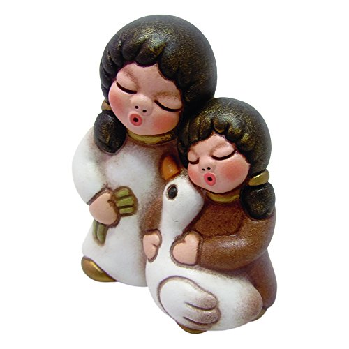 THUN® - Bambine con Oca - Versione Bianca - Statuine Presepe Classico - Ceramica - I Classici