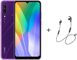 "Huawei Y6P Smartphone,Dual SIM,64GB ROM,3 GB RAM,13MP,5000mAh,6.3"" Display  - Phantom Purple + AM61 BT Headphones"
