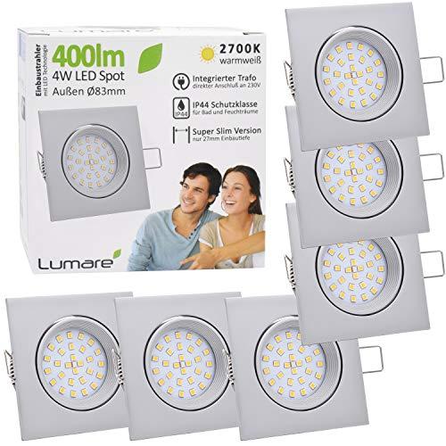 6x Lumare LED Einbaustrahler 4W 400 Lumen IP44 nur 27mm extra flach Einbautiefe LED Leuchtmodul austauschbar Deckenspot AC 230V 120° Deckenlampe Einbauspot warmweiß silber matt eckig Badezimmer