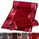 casa pura Stufenmatte mit Zeitloser Musterung | rot | Qualitätsprodukt aus Deutschland | GUT Siegel | kombinierbar mit Läufer | 65x23,5cm | halbrund | einzeln oder im Set (1 Stück)