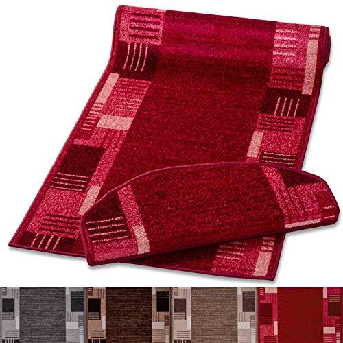 Stufenmatte mit zeitloser Musterung   rot   Qualitätsprodukt aus Deutschland   GUT Siegel   kombinierbar mit Läufer   65x23,5cm   halbrund   einzeln oder im Set (1 Stück)