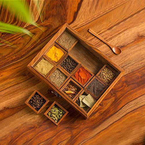 Wooden Handcrafted Spice Box/Masala Dabba with 12 Compartments & Spoon, Sheesham Wood Spice Box Set