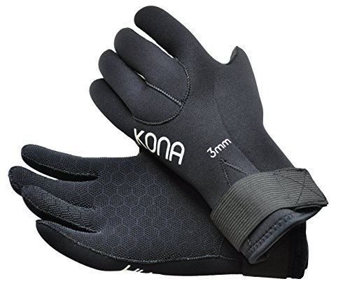 Kona 3mm Premium Double-Lined Neoprene Scuba Diving Gloves with Pentagrip Technology (Small)