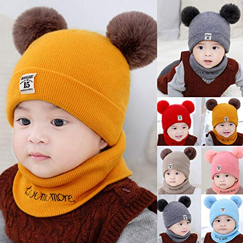 Leyeet Strickmütze für Kleinkinder, Mädchen, Jungen, Baby, Winter, Häkelmütze, Schal, Set, gelb, 0-12 Monate