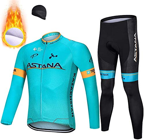 Cycling Clothes for Men Long Sleeve Mountain Bike Road Bicycle Shirt Jerseys Pants Padded Biker Jacket Outfit Winter Fleece Warm (Size : XXL)