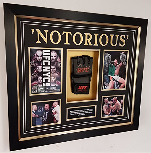 www.signedmemorabiliashop.co.uk Guantes de UFC firmados por Conor Mcgregor *2 PESCAMPEON DISPLAY*
