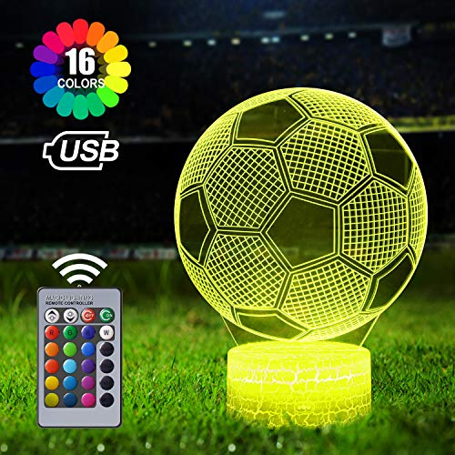 Football 3D Illusion Lamp, 3D Night Light for Boys, Football Light with 16 Colors Change Remote Control, Football Gift for Boys Girls, Creative Birthday Gift, Gifts Fit Birthday Christmas Kids Adults