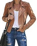 Aurgelmir Women's Faux Suede Jacket Zipper Up Motorcycle Jacket Outwear Coat (Brown,Medium)
