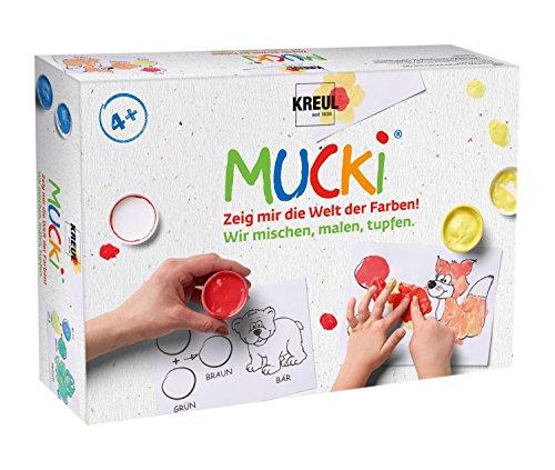 Kreul 29100 - Mucki Fingermalfarbe, Farben Spiel Kiste, Wir mischen, malen, tupfen, Lern- und Spielset, 5 x 50 ml Fingerfarbe, 2 kleine Dosen zum Farbe mischen sowie 10 Malvorlagen