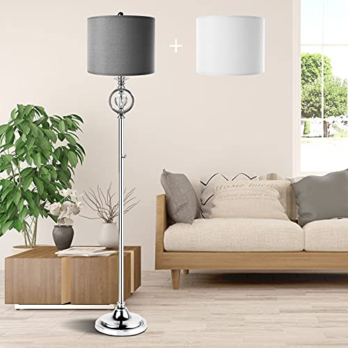 Modern Dimmable Floor Lamp for Living Room,Crystal Standing Tall Lamp with 2 Lampshade for Bedroom