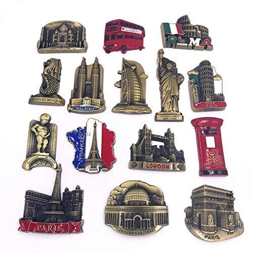 Calamita da frigo 5 Pezzi Consegna Casuale USA Alaska New York Parigi Italia Londra Ufficio Postale Belgio Singapore Paesi Bassi Israele India Dubai UAE Frigo Magnete Souvenir