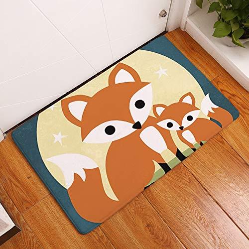 OPLJ Alfombra de Entrada de Pasillo Decorativa con Estampado de Zorro de Dibujos Animados patrón de búho Alfombra de baño Antideslizante decoración del hogar Alfombra Absorbente A6 40x60cm