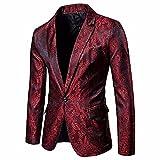 Logobeing Chaqueta de Traje para Hombre, Hombres de Encanto Casual Un Botón Apto Traje Blazer Chaqueta de Abrigo Tops (M, Rojo)