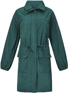 AIEason - Chamarra de Lluvia para Mujer, Impermeable, Resistente al Viento, Larga Capa