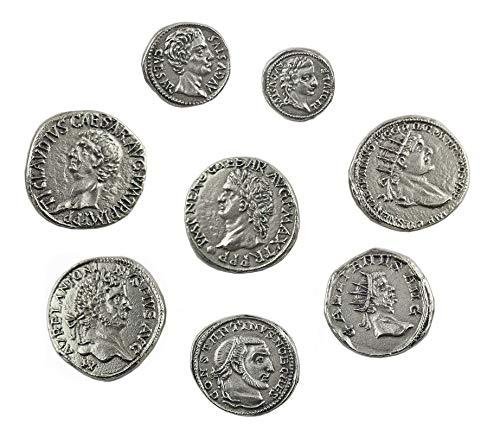 Eurofusioni Monete Romane Imperiali placcate Argento - Set 8 Imperatori Antica Roma