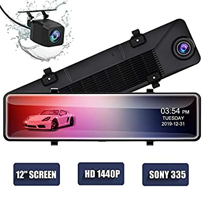 """12"""" Mirror Dash Cam,Backup Camera with 1440p IPS Full Touch Screen, Rear View Mirror Camera with Loop Recording, Parking Monitor, Night Vision, Dual Lens Waterproof Front Rear Dash Camera for Car"""