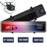 12' Mirror Dash Cam,Backup Camera with 1440p IPS Full Touch Screen, Rear View Mirror Camera with Loop Recording, Parking Monitor, Night Vision, Dual Lens Waterproof Front Rear Dash Camera for Car