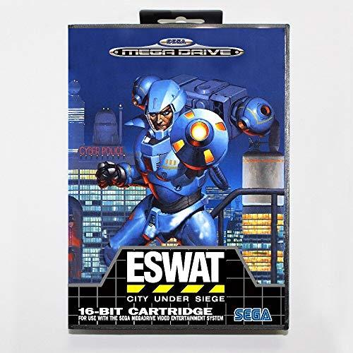 Aditi 16 bit Sega MD game Cartridge with Retail box - E-SWAT City Under Siege game card for Megadrive Genesis system