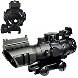 UniqueFire Mirino Red DOT 4 x 32 RGB Tri-Illuminated Compatto Scope con Rosso Fibra Ottica Vista Acidato 20MM Montatura Picatinny Integrata Rail Mount Regolabile, Colore: Nero