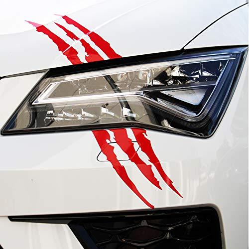 Finest Folia Devil Cut Aufkleber Klauen Krallen Tiger Auto LKW Dekor Sticker (K053 Karminrot)