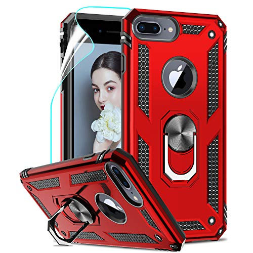 LeYi Funda iPhone 6 Plus / 7 Plus / 8 Plus Armor Carcasa con 360 Grados Anillo iman Soporte Hard PC y Silicona TPU Bumper antigolpes Case para movil iPhone 8 Plus con HD Protector Pantalla, Rojo