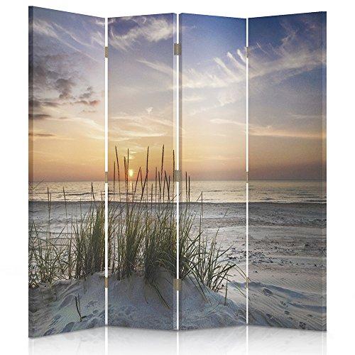Feeby Frames. Raumteiler, Gedruckten auf Canvas, Leinwand Wandschirme, dekorative Trennwand, Paravent beidseitig, 4 teilig (145x180 cm), Landschaft, Grass, Strand, Wasser, Meer, Sand, Himmel