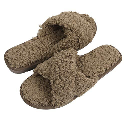Women's Solid Fluffy Crisscross Design Flat Sandals Slides Fuzzy Wool Like Faux Fur Slippers Flip Flop Anti-Slip Spa Cute Slip On