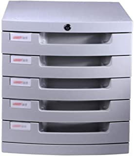 Nologo SH-CHEN Plastic Cosmetic Drawer, Desk Storage Unit Organizer Lockable Drawer Sorter A4 Box for Office (5-Layers Size:12in15.2in12.6in) File Cabinets