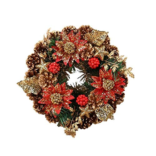 PDGJG Christmas Wreath Artificial Flowers Berry Pine Cone Handmade Christmas Tree Door Hanging Wreath New Year Christmas Decoration