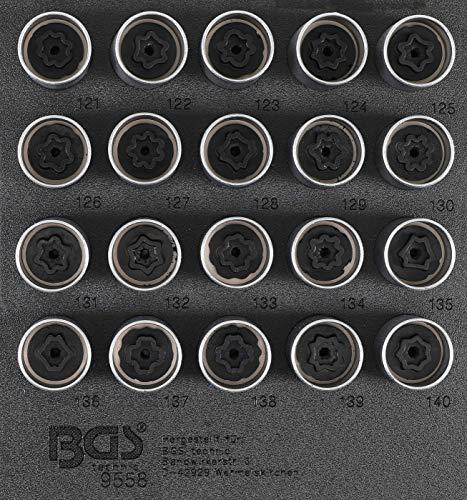 BGS 9558 | Werkstattwageneinlage 1/6: Felgenschloss-Werkzeug-Satz für Opel (Typ C) | 20-tlg.
