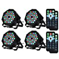 Litake Disco Lights, 4 Pack 36 LEDs Strobe Lights 7 Lighting Modes DJ Light RGB Colourful Stage Lights Flexible Remote Control DMX Control Par Lights with UK Plug