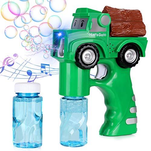 Latocos Seifenblasenpistole Seifenblasenmaschine mit Musik und Licht Bubble Machine Spielzeug Automatisch Seifenblasenspielzeug für Geburtstag Geschenk Sommer Draussen Spielzeug für Kinder Jungen