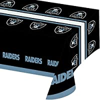 Creative Converting Officially Licensed NFL Plastic Table Cover, 54x102, Oakland Raiders