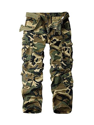 OCHENTA Men's Camo Cargo Pants, Military Tactical Combat 8 Pockets Casual Trousers #3357 Army Green Camo 36