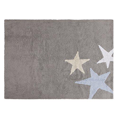 Lorena Canals tres estrellas tricolor alfombra lavable (gris/azul)