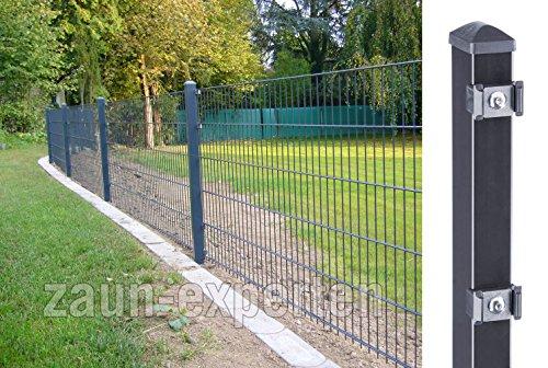zaun-experten de Gartenzaun 20 Meter komplett Höhe: 1630 mm Farbe anthrazit RAL 7016 Doppelstabgittermattenzaun