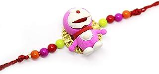 NYLSA Colorful Doraemon Cartoon Eraser Rakhi with Beads for Kids Brother Gift Toy Pencil Eraser Rakhis (Random Color)