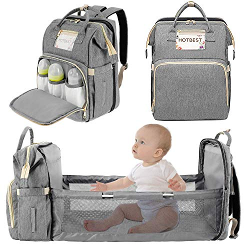 3 in 1 Diaper Bag Backpack, Portable Foldable Mommy Bag Waterproof Newborn...