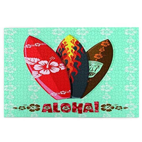 Entretenimiento y desafiante adulto – Moderno Aloha tablas de surf – Rompecabezas de fotos adecuado para boda 1000 piezas