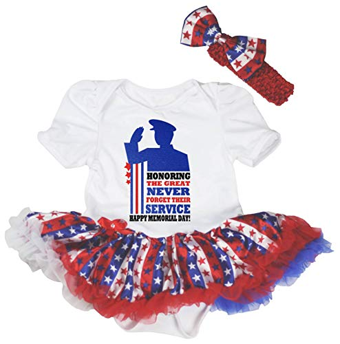 Petitebelle Honoring Happy Memorial Day Body blanc Tutu Robe de bébé Nb-18m - - M
