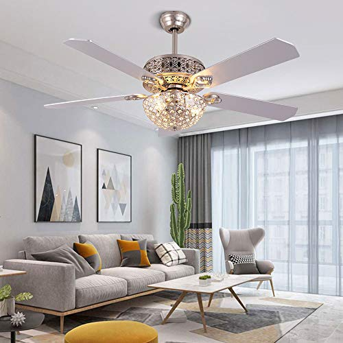 LOYALHEARTDY 52 Inch Fan Chandelier Silver with Remote Control-Without Light Source Ceiling Fan 3 Each E263