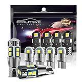 CCAUTOVIE 10x T10 W5W kit de feux de voiture à LED, ampoules à LED de voiture sans erreur Canbus, 501 194 168 ampoules à LED pour feux de plaque d'immatriculation de carte de dôme intérieur de voiture