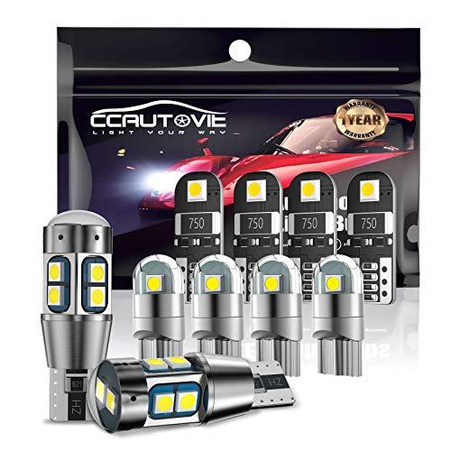 CCAUTOVIE 194168501 T10 Canbus LED Kit de bombillas de coche, W5W LED Blanco Bombillas interiores de coche Luces de matrícula Domo Mapa Puerta Luces de estacionamiento Paquete de 10