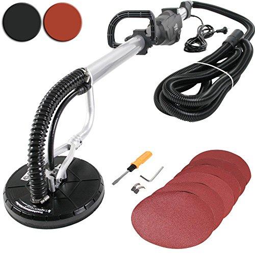 TIMBERTECH - Ponceuse électrique pour placoplâtre - 710W / 600W - avec tuyau d'aspiration et 6 disques abrasifs – Noir