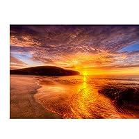 レッドサンセットビーチアートフィルムプリントポスターホームウォールデコレーションウォールアート写真リビングルームのベッドルームデコレーションキャンバスにプリント60x90cmフレームなし