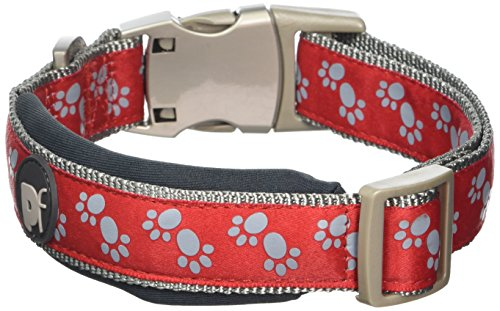 Petface Signature Padded Dog Collar, Large, Red Paws
