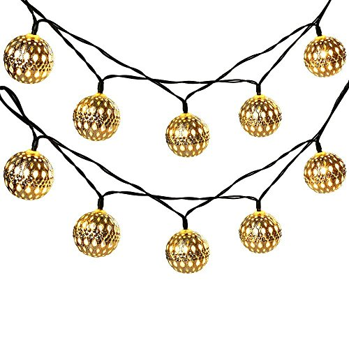 SENBAO 15ft 20LED Moroccan Ball Solar String Lights, Fairy Globe Lantern Lights Decorative Lighting for Indoor/Outdoor, Home, Garden, Patio, Lawn, Path, Party and Holiday Decorations (Warm White)