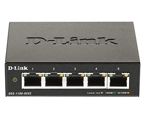 D-Link DGS-1100-05V2 Smart Switch Gestito, 5 Porte Gigabit, Supporto VLAN, Funzionalità layer 2, QoS, 802.3az EEE, Senza Ventole